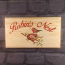 Large Robins Nest Plaque / Sign - House Garden Bird Gardening Garden Home