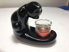 Vtg Ceramic Black Cat Figurine Gold Fish in Bowl Halloween
