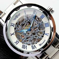 Men's Skeleton Watch Dial Stainless Steel Strap Hand-Wind Mechanical Watches New