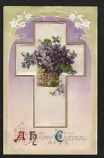 c1910 Winsch Violets flower basket on Silk Cross Easter postcard