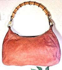 7e95b4eac2c MIU MIU Orange Leather Bamboo Handle Hobo Shoulder Bag Italy