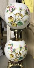 L. G. Wright By Fenton Moss Rose Gone With The Wind Lamp - Hand Painted