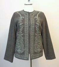 NWT Susan Graver Olive Green Embroidered Jacket Size Medium 10 12