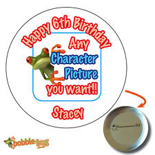 75mm HAPPY BIRTHDAY PARTY BADGE  - BIG PERSONALISED BADGES, ANY CHARACTER 202