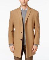Calvin Klein Men's Prosper Wool-Blend X-Fit Overcoat 42XLG X Long Camel