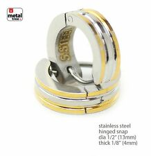 Stainless Steel Huggie Hoop Hinged Snap Hip Hop Fashion DJ Earrings SSHE 038TT