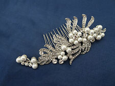 Bridal Hair Comb Slide with Diamante and Pearls in Vintage Look Silver Tone