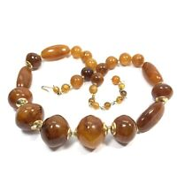 """VINTAGE HONG KONG Amber Lucite Bead NECKLACE Chunky MIX SHAPE 21"""""""