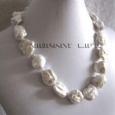 """20"""" 17-24 mm blanc Ding moules nucléaire d'eau douce collier de perles U"""