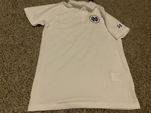 Notre Dame Under Armour White Polo Shirt Men's Size: Small Loose Heatgear NWT