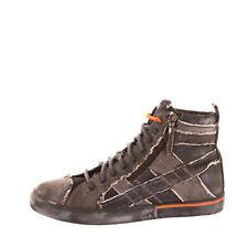 Rrp €150 Diesel D-Velows Mid Lace Denim Sneakers Eu 43 Uk 9 Us 10 Worn Look