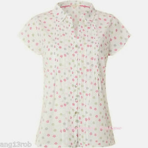 WHITE STUFF SWINGING ELLIE IVORY PINK GREEN FLORAL COTTON BLOUSE TOP SIZE 8 NEW