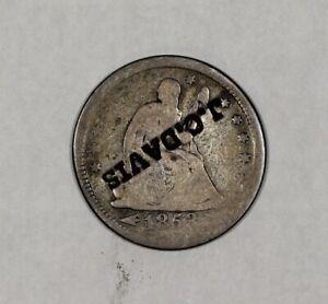 1853 Arrows & Rays Liberty Seated Quarter J.C. Davis Merchant Counterstamp C/...