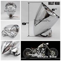 "9"" x 5 3/4"" Chrome Bullet Motorcycle Headlight for Harley Davidson Chopper Dyna"