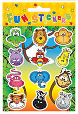 6 Jungle Animal Sticker Sheets - Pinata Toy Loot/Party Bag Fillers Wedding/Kids