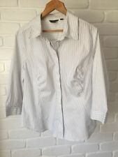 Basque Woman Top 3/4 Sleeve Button Up Shirt Blue & White Stripe Plus Size 18