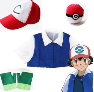 Boys Girls Pokemon Ash Ketchum Pocket Monster Trainer Costume Kids Cosplay Set