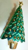 """Lovely Vintage 1970's Stamped Danecraft Enamel Gold Ball 2.5"""" Christmas Tree Pin"""