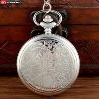 Full Hunter Silver Space Time Pocket Watch Quartz Vintage Necklace Pendant Chain