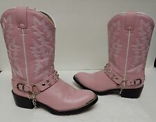 Durango Leather Cowboy Western Boots Faux Rhinestone Harness Pink Girls 4 D