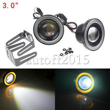 """3"""" Angel Eye Halo Ring Front Bumper Projector Fog Light DRL Driving Lamp Yellow"""