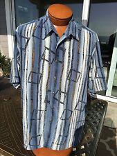 * Bernini Platinum * Beverly Hills Blue/Gold Abstract Camp Disco Shirt Medium*