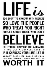 Life is too Short inspirational poster A3