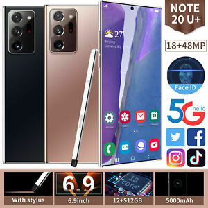 6.9 in Smartphone 12GB+512GB Android 10 Fingerprint Face ID Unlock Mobile Phone