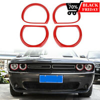 4pcs Front Light Headlight Trim Cover kit Decor For Dodge Challenger 2015-2019