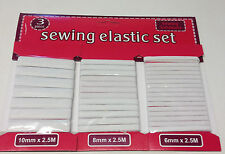 6mm 8mm 10mm SEWING STITCHING ELASTIC SET Premium Grade White Flat Corded Tailor