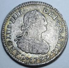 1799 FM RARE Double Die Mint Error VF Silver 1/2 Reales Real Piece of 8 Coin
