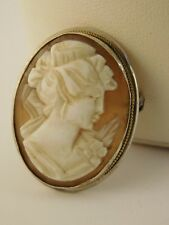 Brooch Pendant Conch Orange White Vintage Shell Cameo 800 Fine Silver Pin