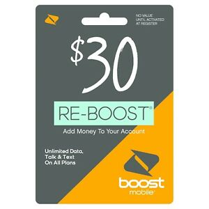 Boost Mobile - Re-Boost $30 Prepaid Phone Card Refilled directly to your mobile