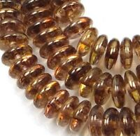 50 Czech Glass Rondelle Beads Luster - Transparent Gold / Smoky Topaz 6x2mm