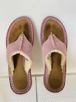Women's UGG Layback Shearling Sandals Thong Slippers Flat, Pink, Size 5
