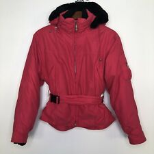 Obermeyer Thermolite women's insulated belted snow ski winter jacket size 10 fur