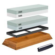 Couteau à aiguiser pierre set comprend en bois porte-lame Couteaux Affûteur Guide