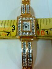 Xanadu Mineral Rhinestone Crystal Watch Bangle Gold Tone  Bracelet New Battery