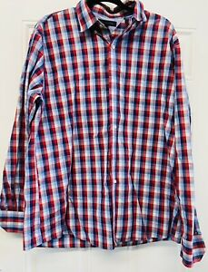 Tommy Hilfiger Men Size 17-1/2 34-35 Plaid Button-Down Long Sleeves Red Shirt