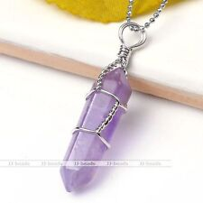 1x Natural Amethyst Gemstone Wire Wrap Healing Bead Pendant For Necklace Jewelry