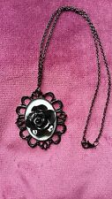 STEAMPUNK GOTHIC BLUE/BLACK ROSE CAMEO   NECKLACE