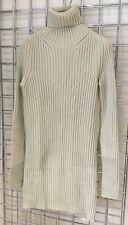 CHLOE Sweater Dress Beige 100% Wool Knee Length Size XS UK 6-8 Turtleneck Ribbed
