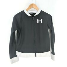 Under Armour Track Jacket Girls Youth L Black White Zip Front