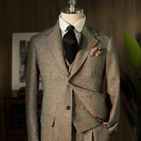 Vintage Gray Herringbone Suits Formal Business Work Wear Peaky Blinder 3 Pieces