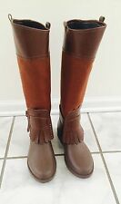 Salvatore Ferragamo Brown Leather and Canvas Rain Boots sz 38 US 8