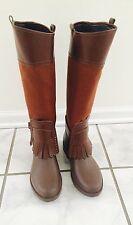 Salvatore Ferragamo Brown Leather and Canvas Rain Boots sz 38 US 8