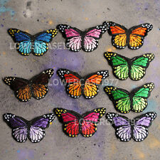 Set of 10 embroidered Butterfly Iron on patches -  rainbow nature bright pretty
