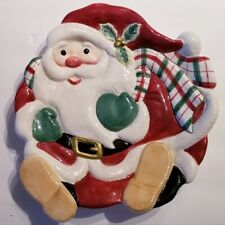 Fitz and Floyd Essentials Plaid Santa Canape / Wall Plate / Cookie Dish