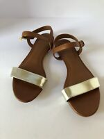 Tory Burch Size 5.5 Tan Leather & Mirror Metallic Flat Sandals Ankle Strap MINT