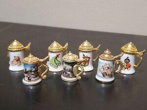 Lot of 7 Vintage Porcelain Thimbles; Beer Stein Shape with Metal Lids